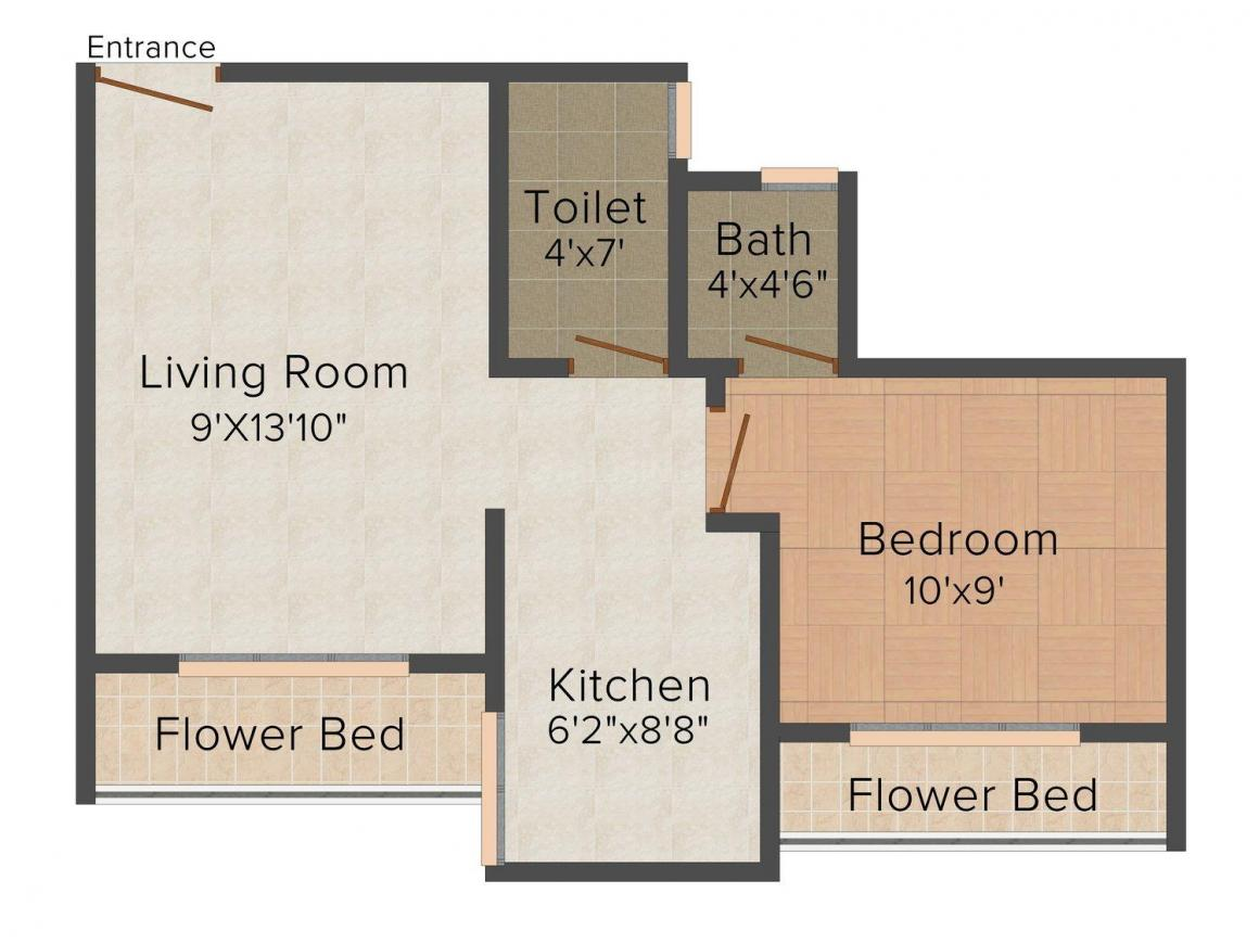 Floor Plan Image of 0 - 625.0 Sq.ft 1 BHK Apartment for buy in Pragati Shram Safalya