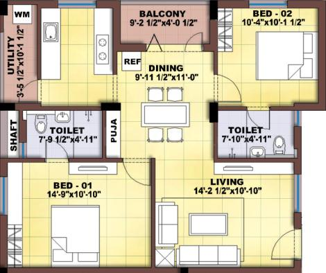 Karuppaswamy Diamond Apartments Floor Plan: 2 BHK Unit with Built up area of 1052 sq.ft 1