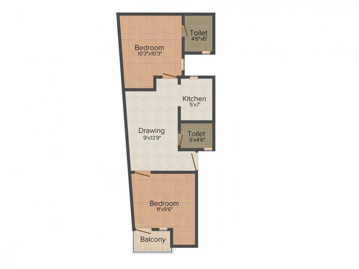 Floor Plan Image of 0 - 1260 Sq.ft 2 BHK Independent Floor for buy in Quick Homes - 2