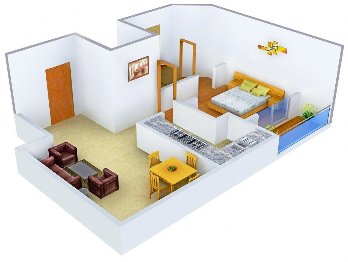 Ultima Skymax Floor Plan: 1 BHK Unit with Built up area of 694 sq.ft 1