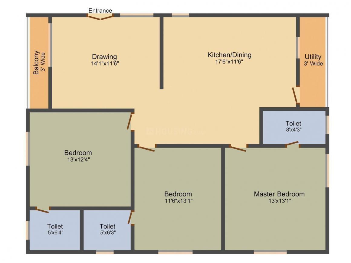 Avantika Aaditya Floor Plan: 3 BHK Unit with Built up area of 1547 sq.ft 1