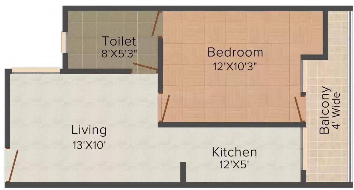 Floor Plan Image of 600.0 - 1538.0 Sq.ft 1 BHK Apartment for buy in Smart Infra Saras Shree Bala Ji Tower