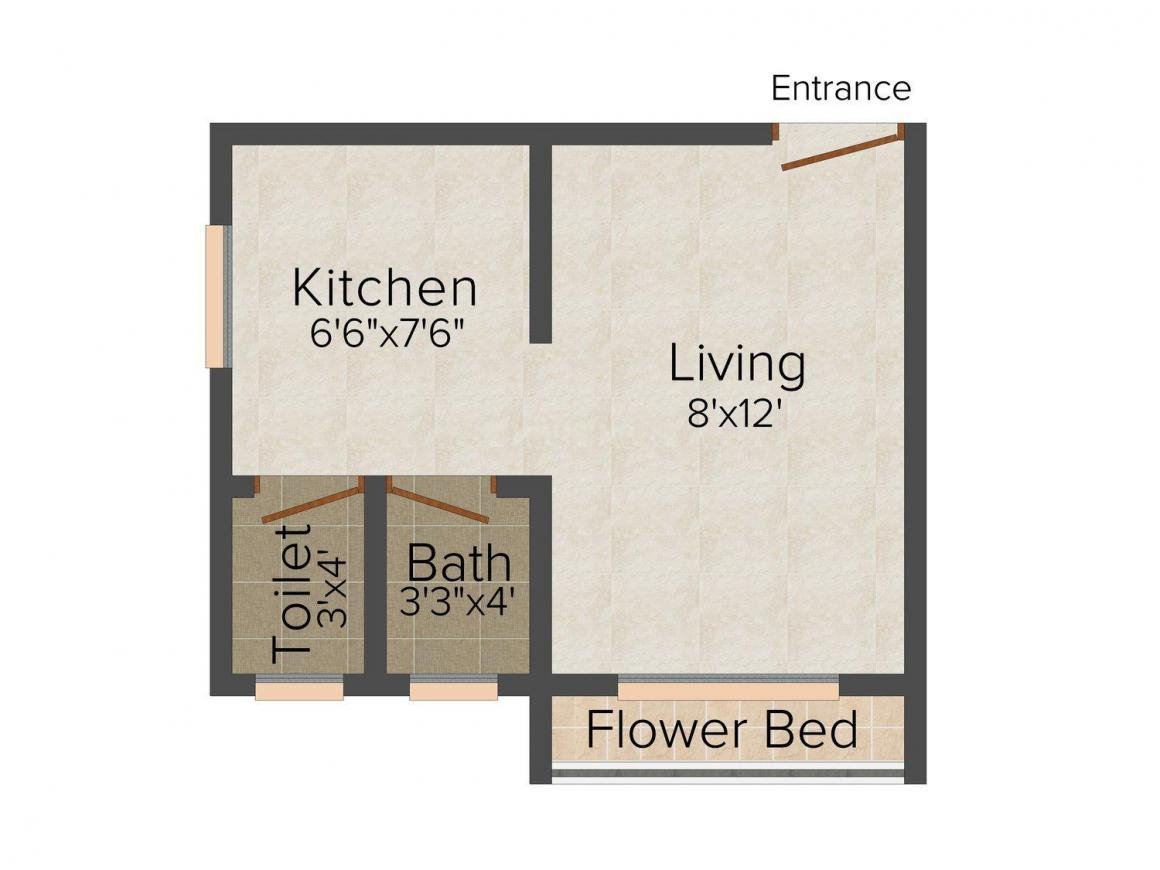 Amber Richa Plaza Floor Plan: 1 BHK Unit with Built up area of 275 sq.ft 1