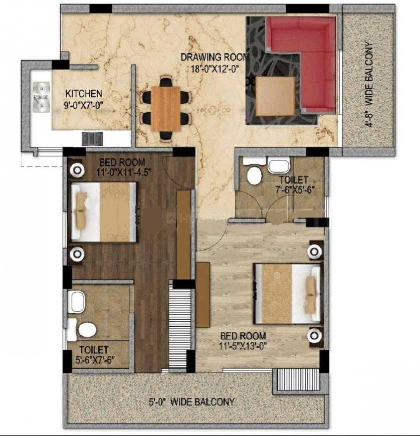 Maxvel Residency Floor Plan: 2 BHK Unit with Built up area of 760 sq.ft 1
