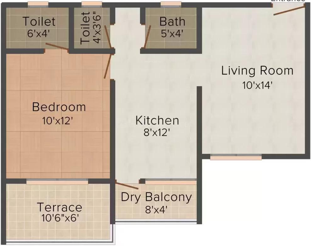 Vainateya Sumeru Vrindavan Srushti Floor Plan: 1 BHK Unit with Built up area of 669 sq.ft 1