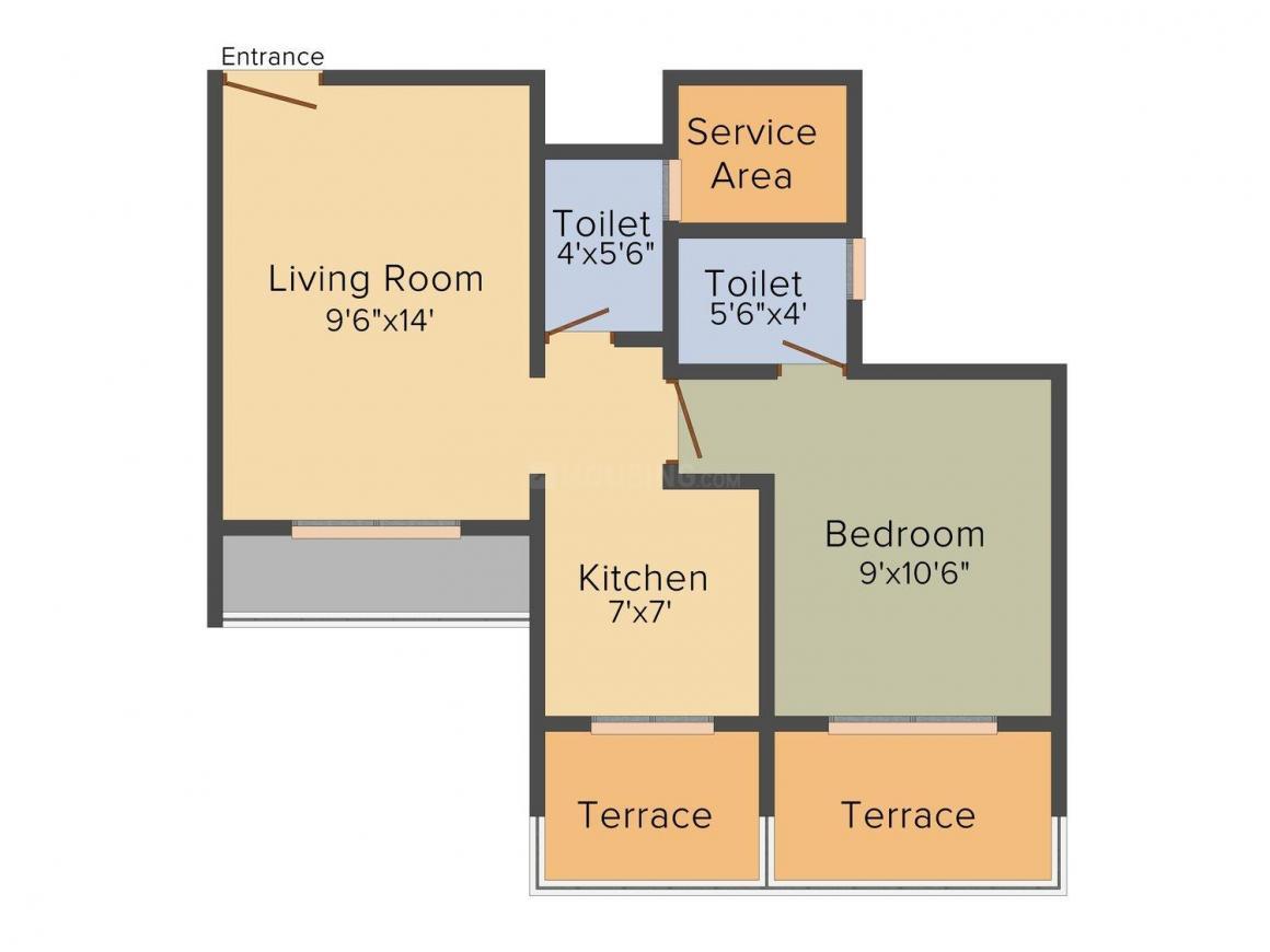 Floor Plan Image of 650 - 1100 Sq.ft 1 BHK Apartment for buy in Giriraj Dev Luxuria