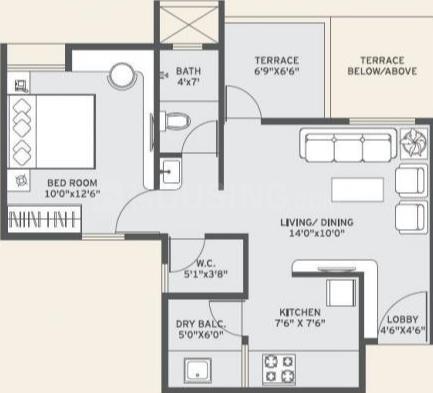 Vilas Javdekar Yashwin Anand Floor Plan: 1 BHK Unit with Built up area of 406 sq.ft 2