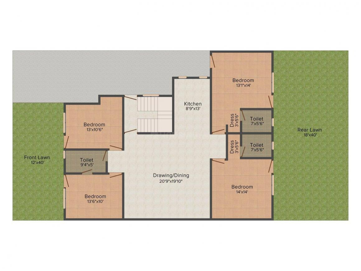 Yash Floors B - 1051 Floor Plan: 4 BHK Unit with Built up area of 3204 sq.ft 1