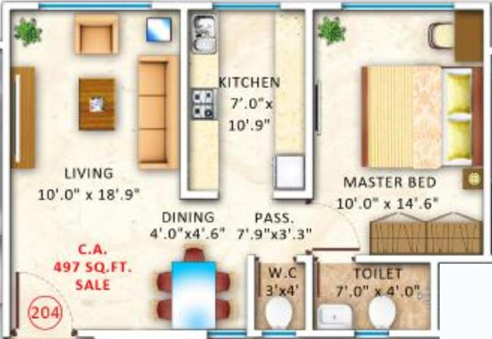 Ventures Alta Monte Floor Plan: 1 BHK Unit with Built up area of 497 sq.ft 1