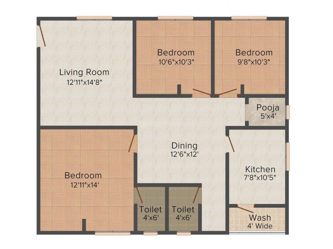 Sai Jyothi Sai Keerthi Estates Floor Plan: 3 BHK Unit with Built up area of 1344 sq.ft 1