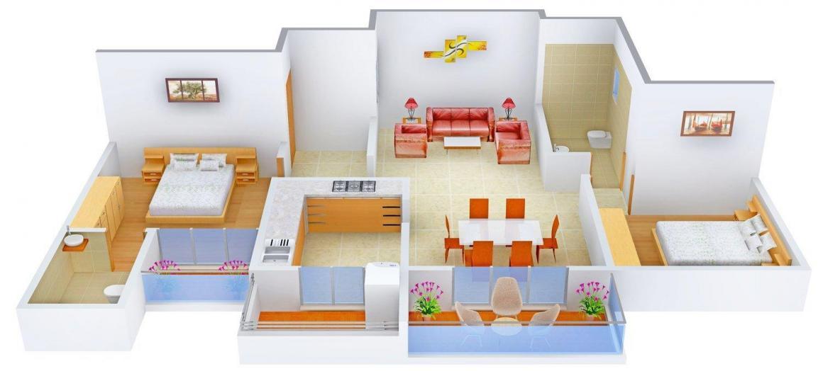 Raunak Garden Floor Plan: 2 BHK Unit with Built up area of 1120 sq.ft 1