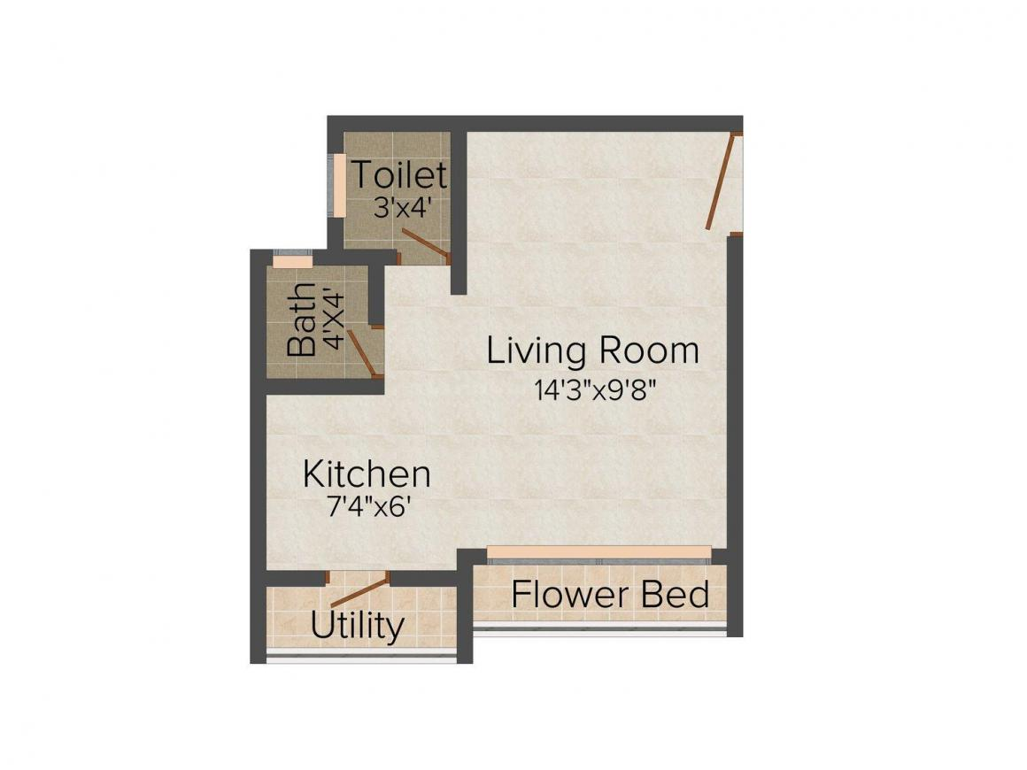 Floor Plan Image of 315.0 - 631.0 Sq.ft 1 RK Apartment for buy in Bhagat Park