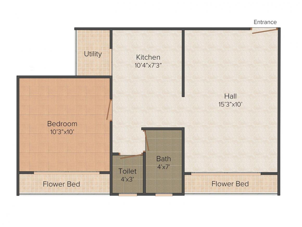 Rockford Valencia Avenue Floor Plan: 1 BHK Unit with Built up area of 372 sq.ft 1