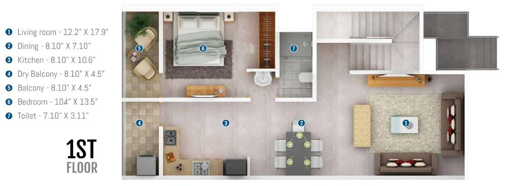 Prasad Pyramid County Bhukum Floor Plan: 4 BHK Unit with Built up area of 1427 sq.ft 2