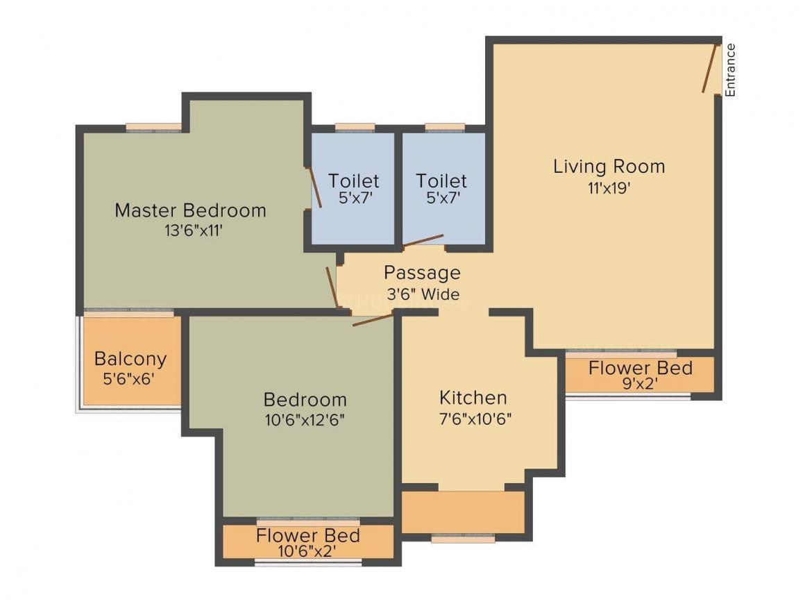 Floor Plan Image of 870.0 - 1086.0 Sq.ft 2 BHK Apartment for buy in Prescon Hill View