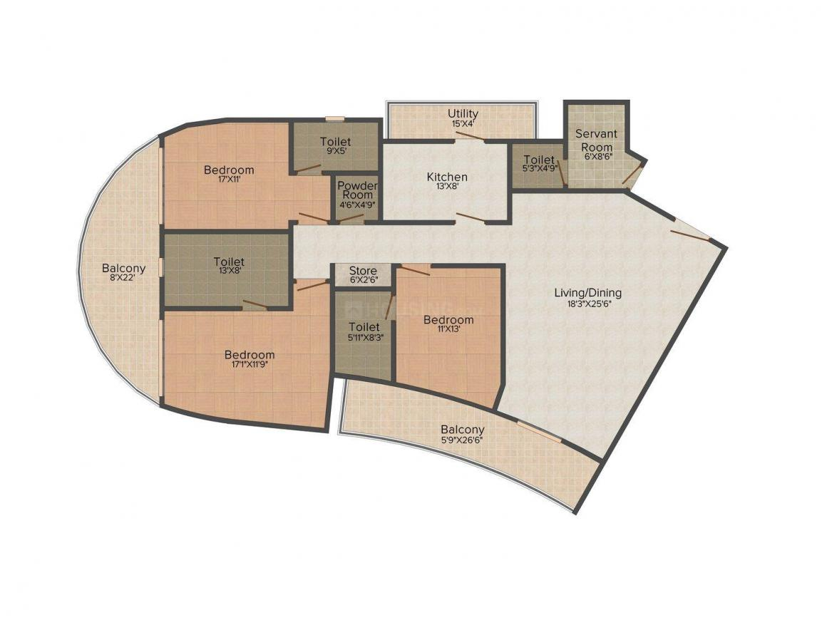 Homestead Ballet By Sharapova Floor Plan: 3 BHK Unit with Built up area of 2500 sq.ft 1