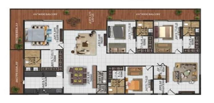 W By DSR Floor Plan: 4 BHK Unit with Built up area of 5999 sq.ft 1