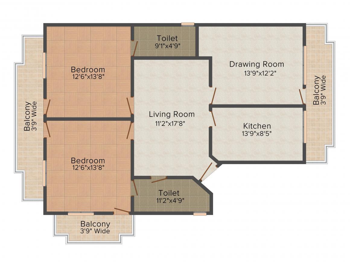 Floor Plan Image of 1550.0 - 1850.0 Sq.ft 2 BHK Apartment for buy in Gambhir Pratham