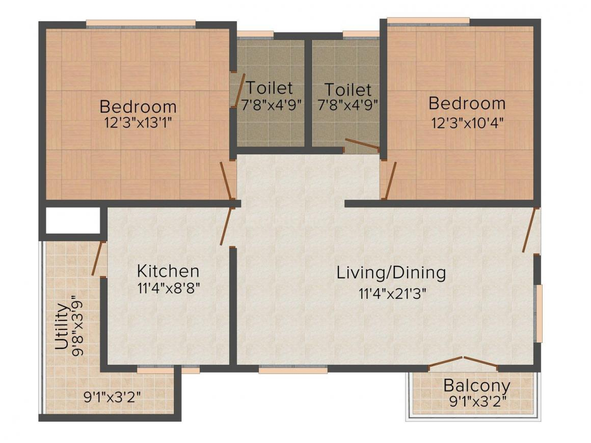 Floor Plan Image of 1144.0 - 1672.0 Sq.ft 2 BHK Apartment for buy in Hyland Mithra Maanya Mansion