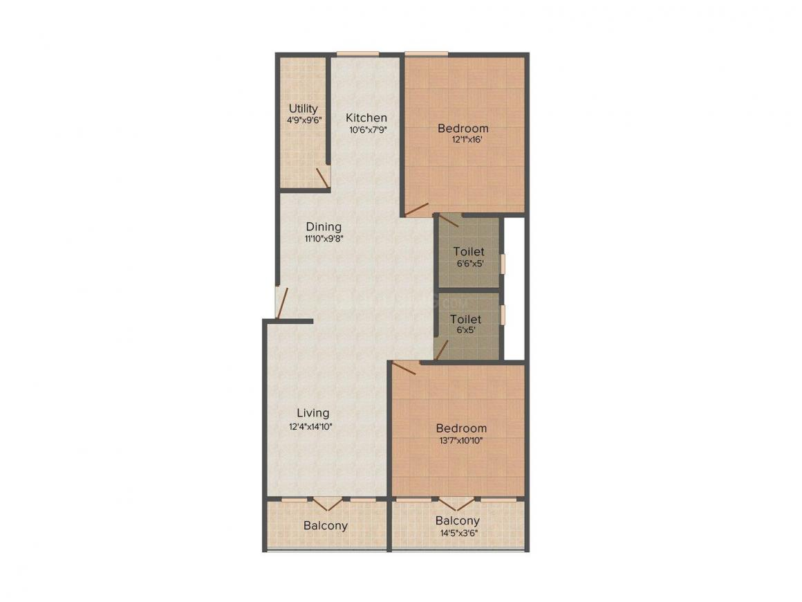 Floor Plan Image of 1350.0 - 1689.0 Sq.ft 2 BHK Apartment for buy in Opera Opal Serenity