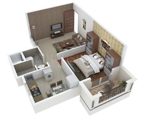 Konark Virtue Floor Plan: 1 BHK Unit with Built up area of 314 sq.ft 1