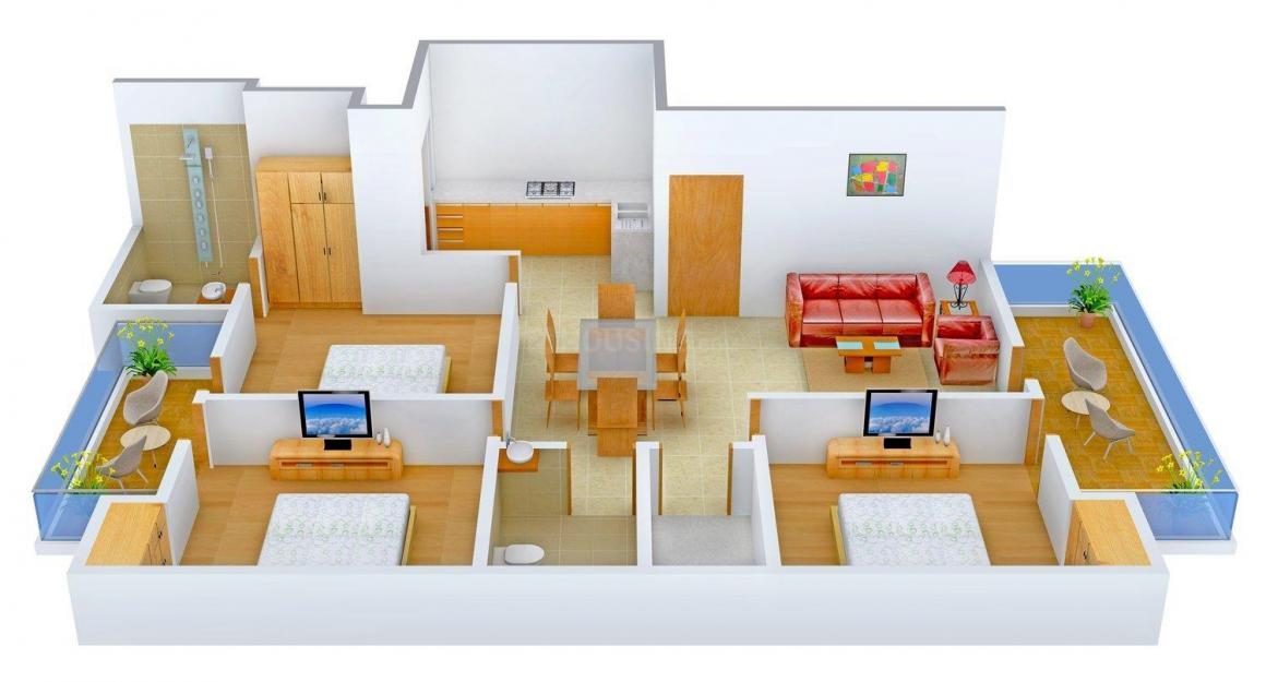 Agarwal Floors - 1 Floor Plan: 3 BHK Unit with Built up area of 1355 sq.ft 1