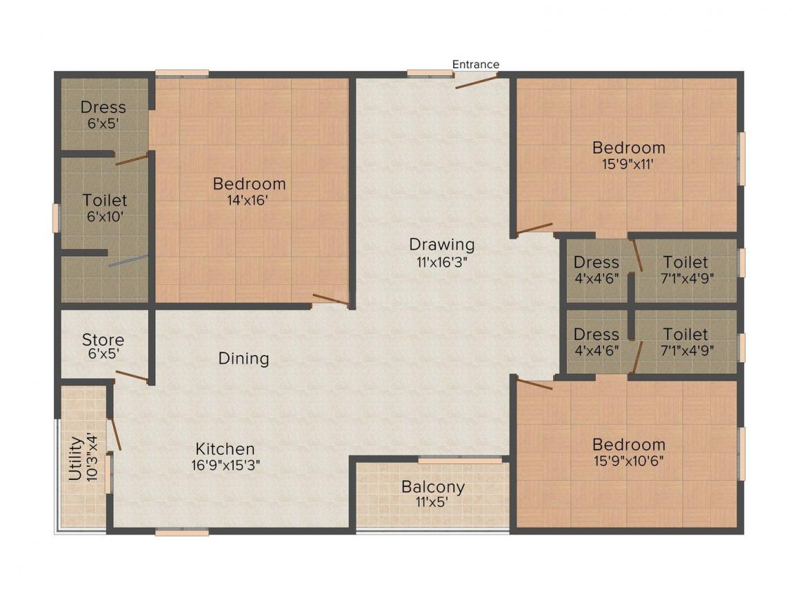 Floor Plan Image of 0 - 2012.0 Sq.ft 3 BHK Apartment for buy in Aashray Silver Springs
