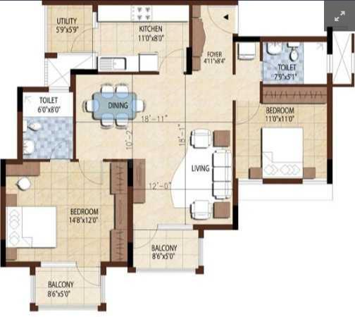 Puravankara Bluemont Floor Plan: 2 BHK Unit with Built up area of 1360 sq.ft 1