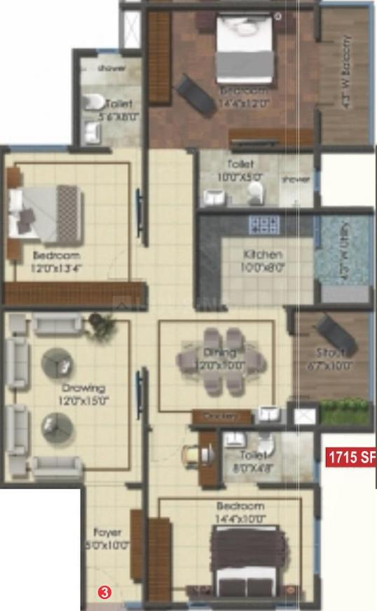 DSR Eden Greens Floor Plan: 3 BHK Unit with Built up area of 1715 sq.ft 1