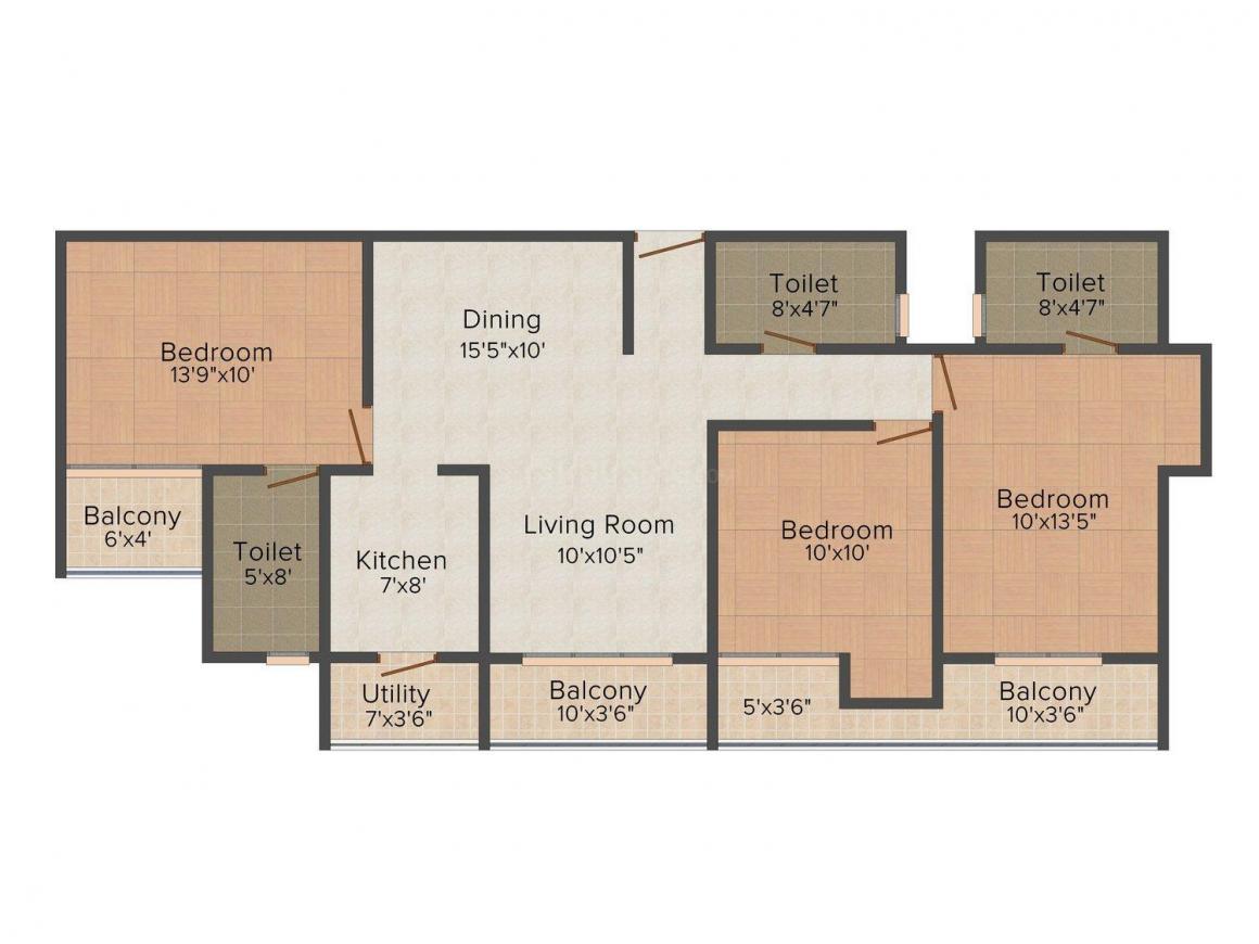 Floor Plan Image of 1052.0 - 3050.0 Sq.ft 2 BHK Apartment for buy in Kubhera Vistas