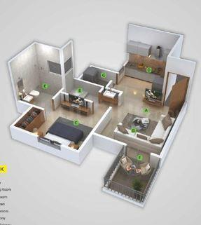 Urbania Mangalam Floor Plan: 1 BHK Unit with Built up area of 327 sq.ft 1
