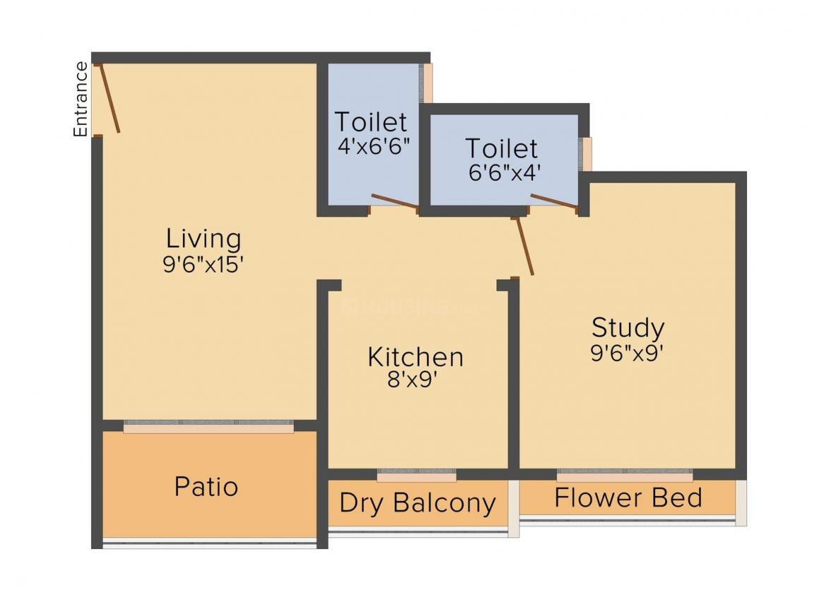 Sterling Heights Floor Plan: 1 BHK Unit with Built up area of 625 sq.ft 1