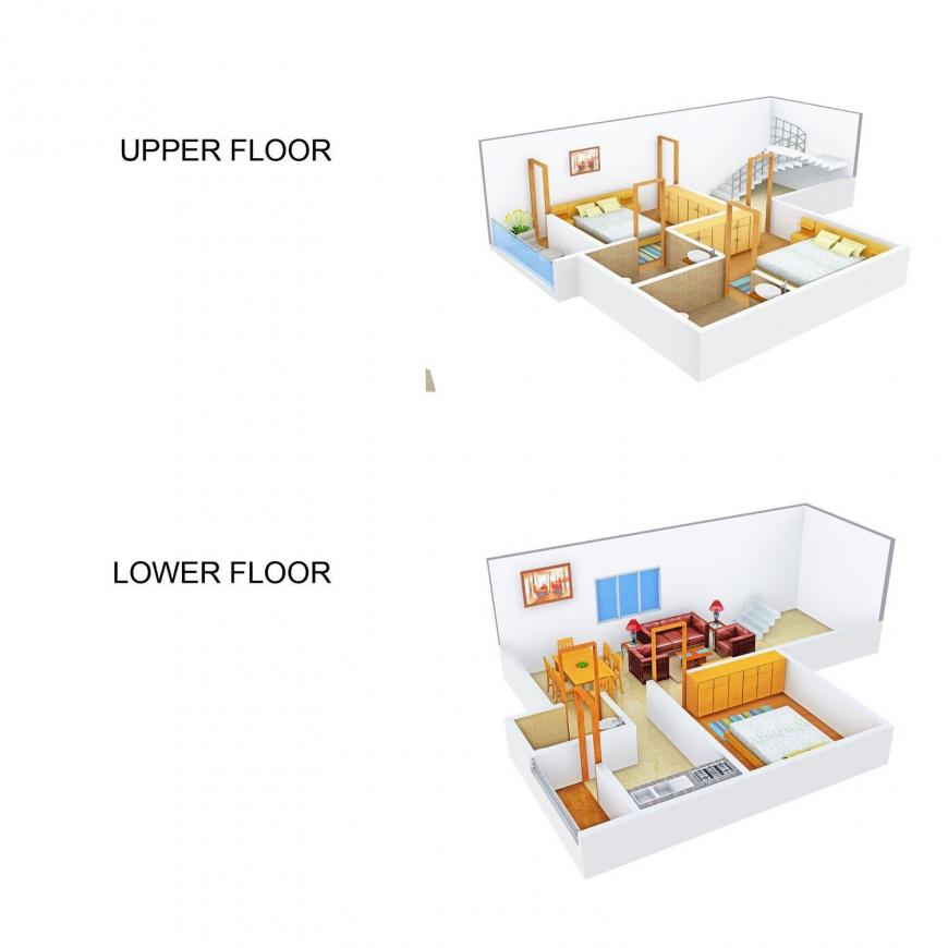 Floor Plan Image of 0 - 1465 Sq.ft 3 BHK Duplex for buy in Sai Krishna Twin Face