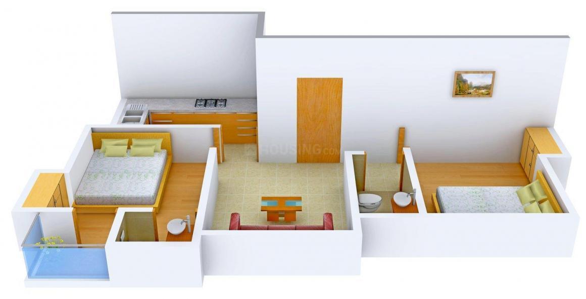 Floor Plan Image of 780.0 - 800.0 Sq.ft 2 RK Apartment for buy in S C Aakash Residency