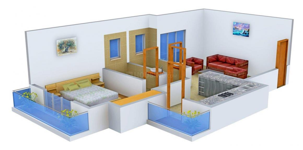 Floor Plan Image of 599.0 - 910.0 Sq.ft 1 BHK Apartment for buy in Rosa Elite