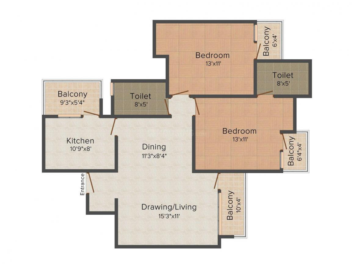 Floor Plan Image of 1230 - 1638 Sq.ft 2 BHK Apartment for buy in Unique Towers