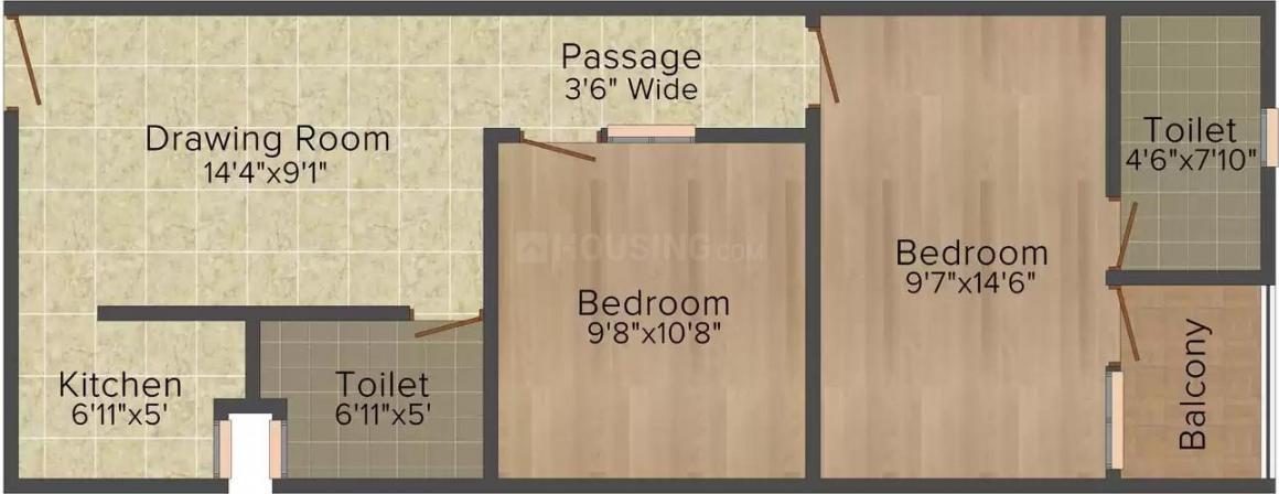 Sagar Properties Delhi Homes II Floor Plan: 2 BHK Unit with Built up area of 700 sq.ft 1