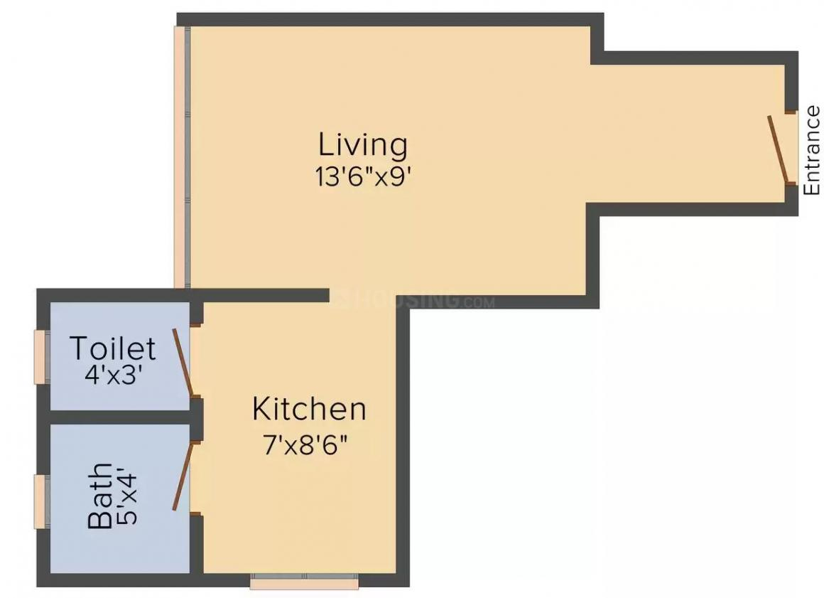 Atharva Riddhi Siddhi Apartment Floor Plan: 1 BHK Unit with Built up area of 380 sq.ft 1