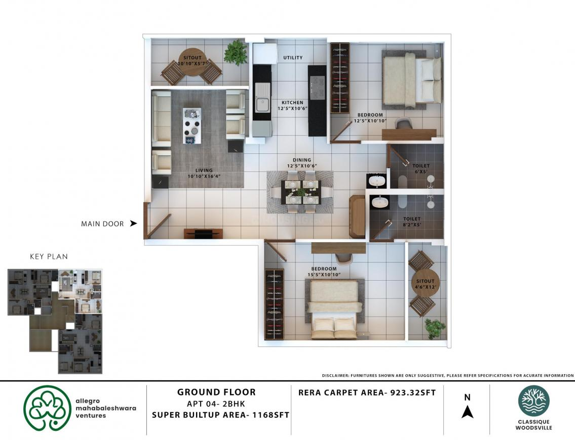 Classique Woodsville Floor Plan: 2 BHK Unit with Built up area of 1168 sq.ft 1