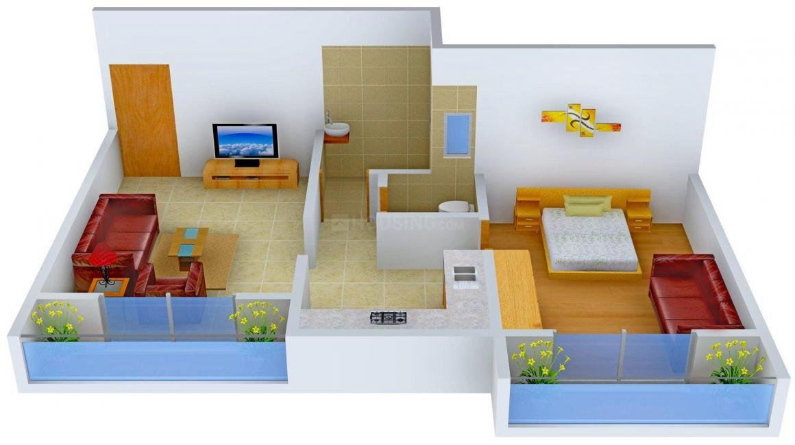 Floor Plan Image of 0 - 640.0 Sq.ft 1 BHK Apartment for buy in Aniruddha Ratna