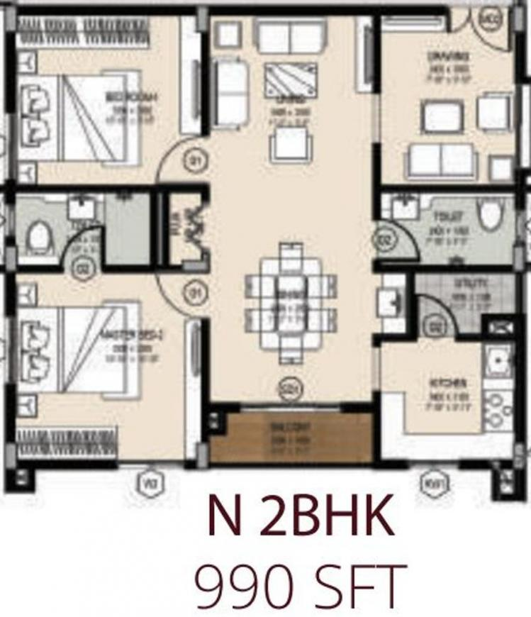 Ark Hema Floor Plan: 2 BHK Unit with Built up area of 990 sq.ft 1