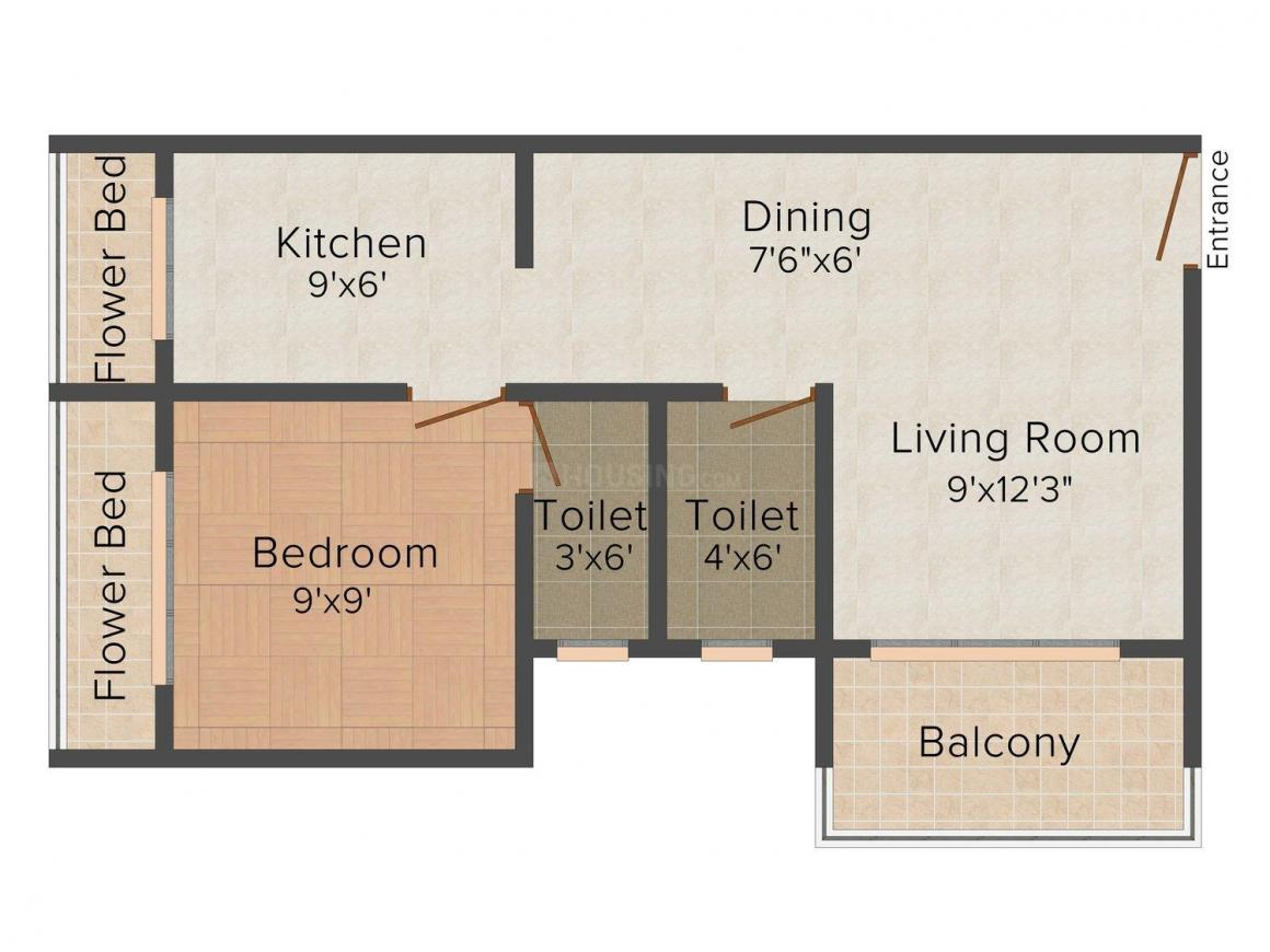 Floor Plan Image of 0 - 675.0 Sq.ft 1 BHK Apartment for buy in Shital Tapovan