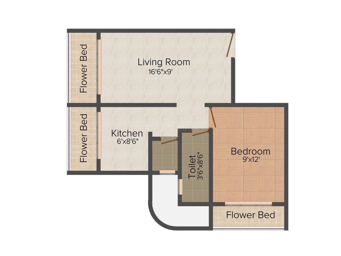 Floor Plan Image of 376.0 - 565.0 Sq.ft 1 BHK Apartment for buy in Gujrat Indralok Heights