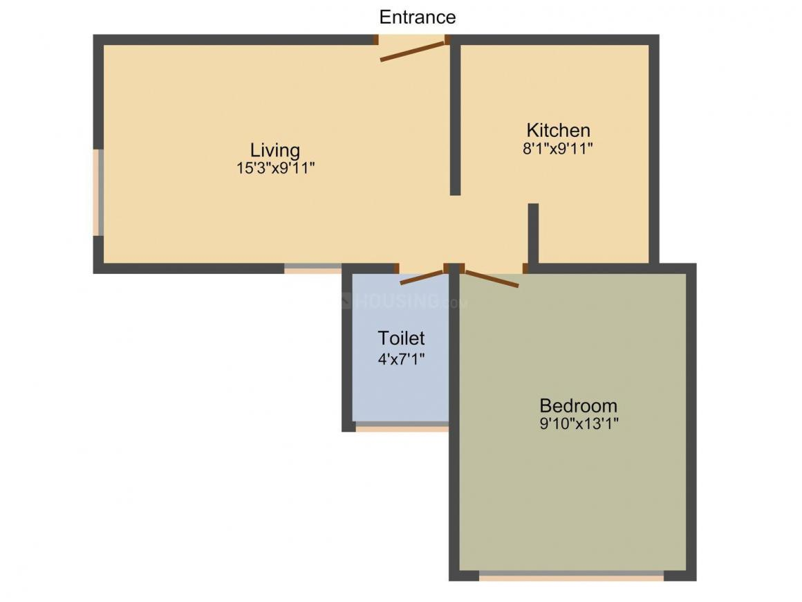 Creative Sarovar CHS Floor Plan: 1 BHK Unit with Built up area of 392 sq.ft 1