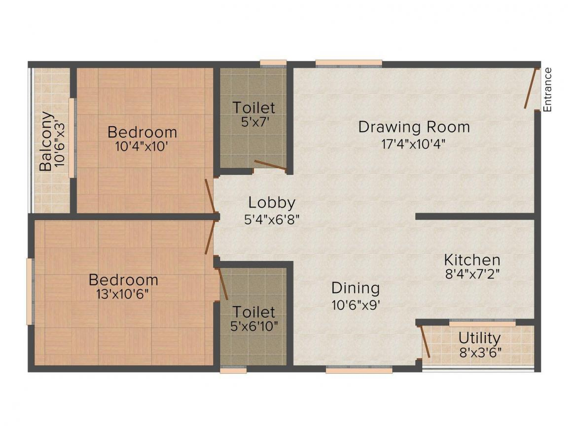 Floor Plan Image of 1035 - 1640 Sq.ft 2 BHK Apartment for buy in Hilife Spring Bloom