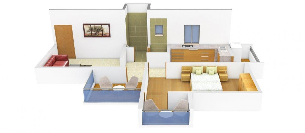 Floor Plan Image of 663 - 736 Sq.ft 1 BHK Apartment for buy in Shanikrupa Tulsai Park