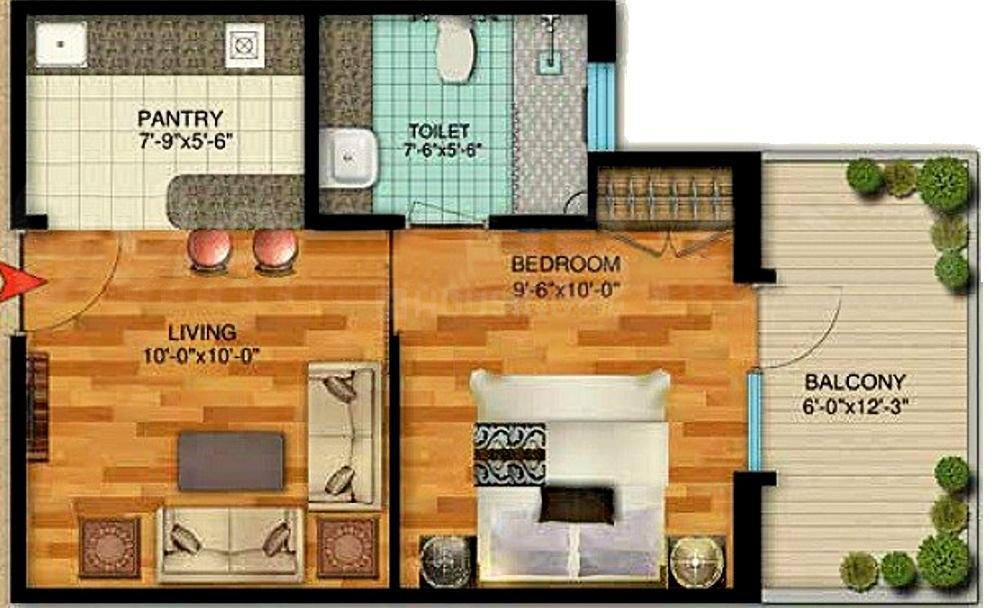 Ameya Sapphire 92 Floor Plan: 1 BHK Unit with Built up area of 608 sq.ft 1