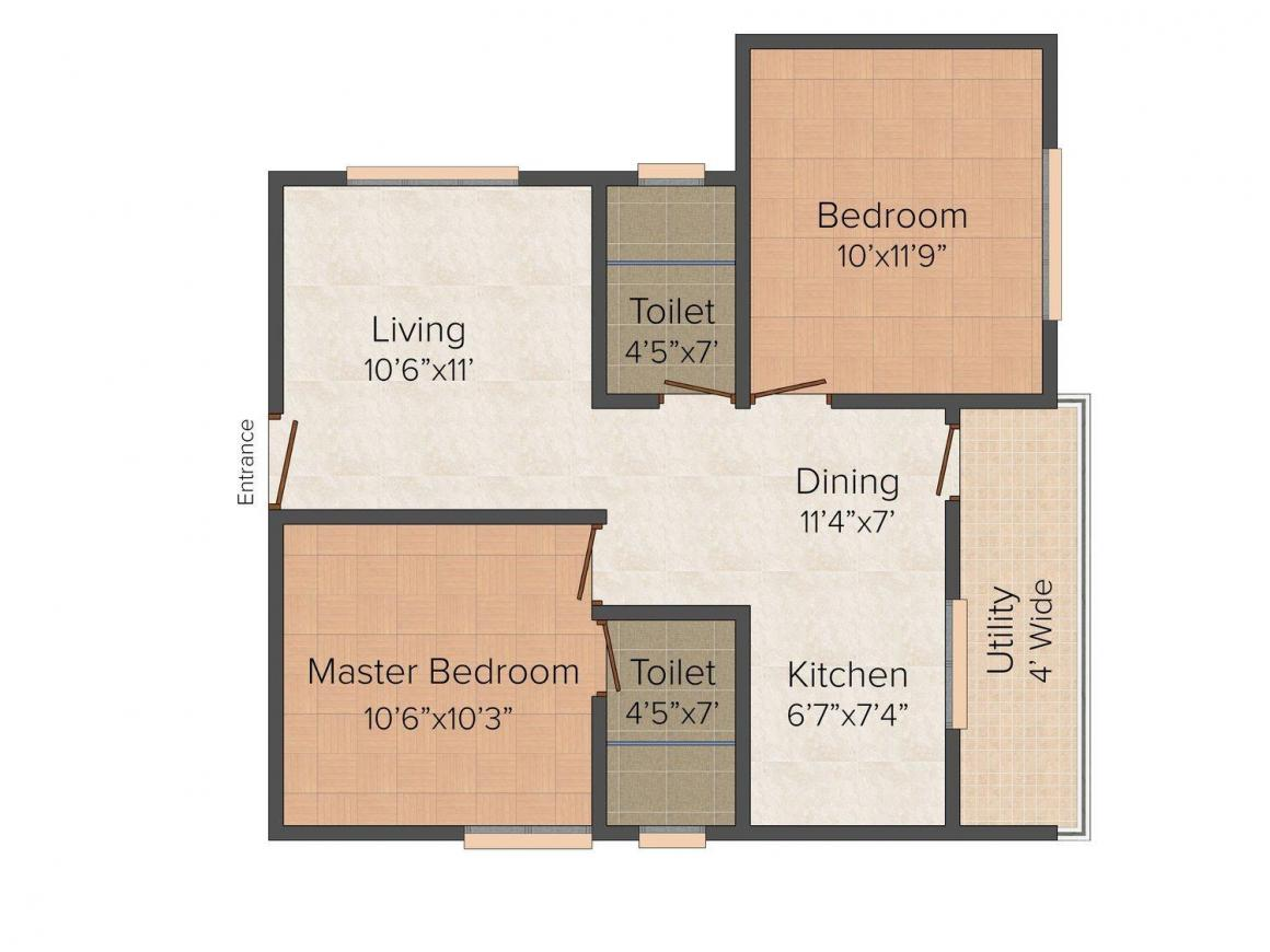 TGS Rome Floor Plan: 2 BHK Unit with Built up area of 850 sq.ft 1