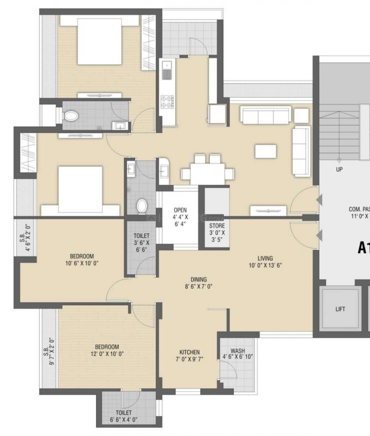 Vraj Apple Green Floor Plan: 2 BHK Unit with Built up area of 630 sq.ft 1