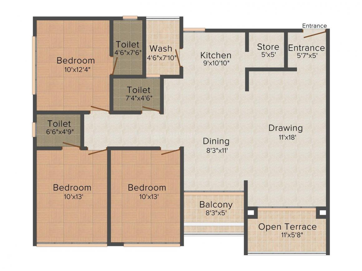 Floor Plan Image of 0 - 1890.0 Sq.ft 3 BHK Apartment for buy in Param 22